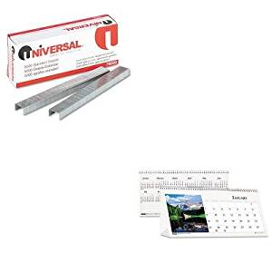 KITHOD3649UNV79000 - Value Kit - House Of Doolittle Scenic Photos Desk Tent Monthly Calendar (HOD3649) and Universal Standard Chisel Point 210 Strip Count Staples (UNV79000)
