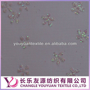 Pink Plain Nylon Mesh Fabric with Beaded Sequined Decorate