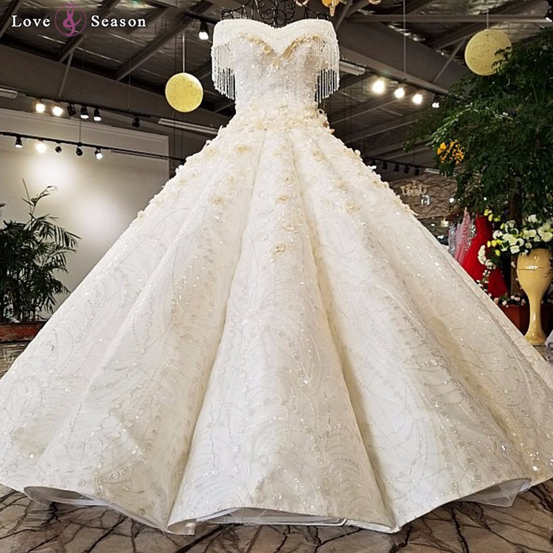 Ls74855 Off Shoulder Puffy Skirt Wedding Dress Sweetheart Golden ...
