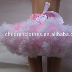 New Girls Hot Pink With White Flower Fluffy Pettiskirt Baby TuTu Dress