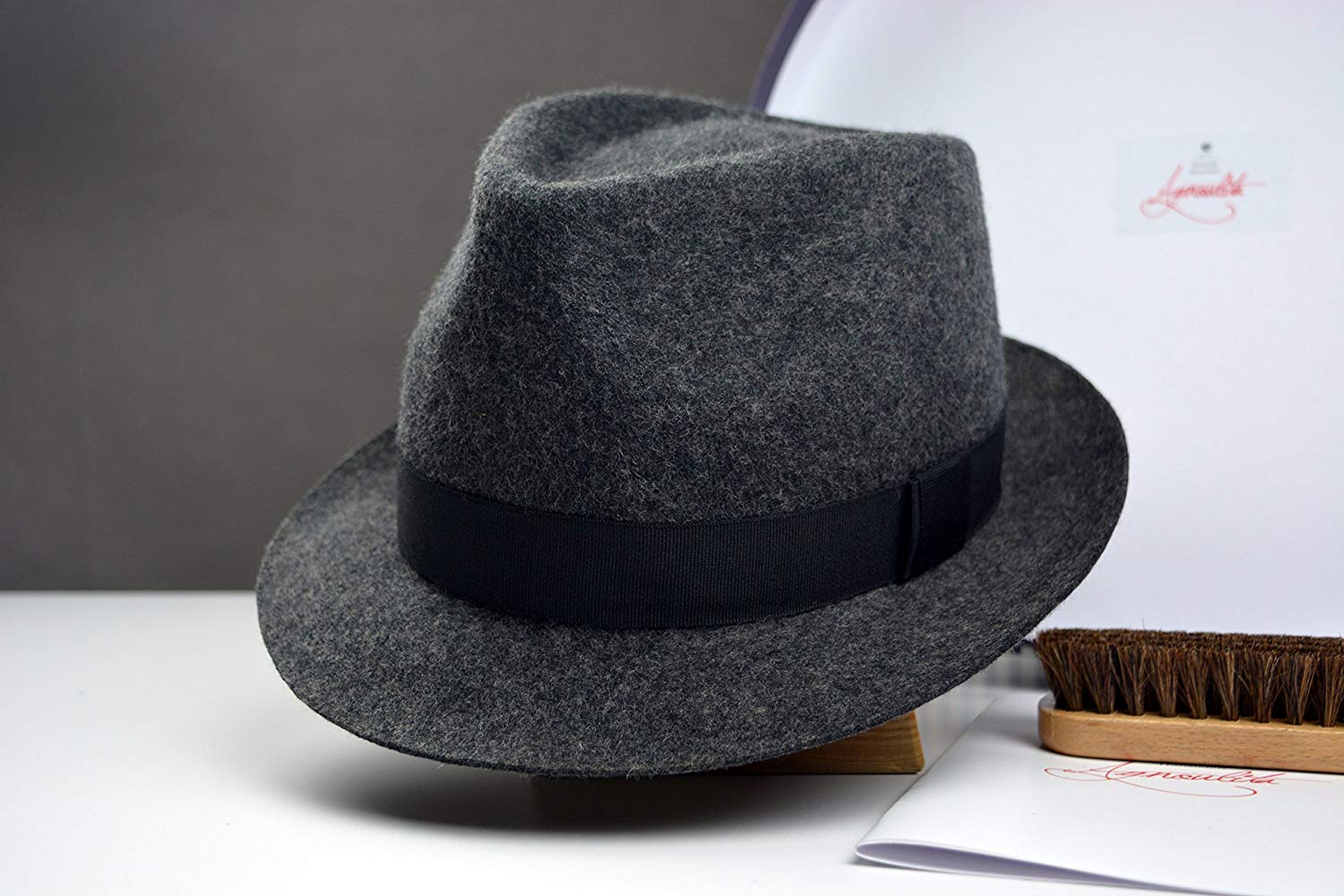 bef709978f1 Get Quotations · The Andy - Dark Grey Wool Felt Tweed Trilby Fedora Hat -  Stingy Brim - Men