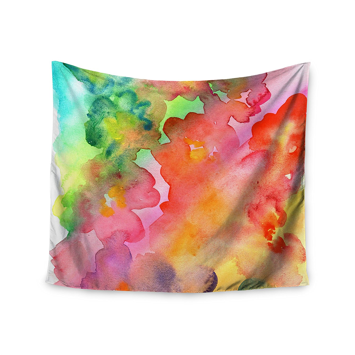 """KESS InHouse Louise Machado """"Spring Colors"""" Watercolor Floral Wall Tapestry, 51"""" x 60"""""""