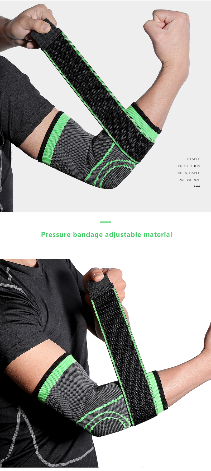 Customized Elbow Brace Men Compression Support Elbow Sleeve Gym Bandage Elbow Straps