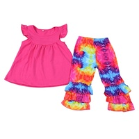 2019 Fall New Design Stock Ready to Ship Tie Dye Children Girls Boutique Clothes Set Fashion Clothing Set for Kids Girls