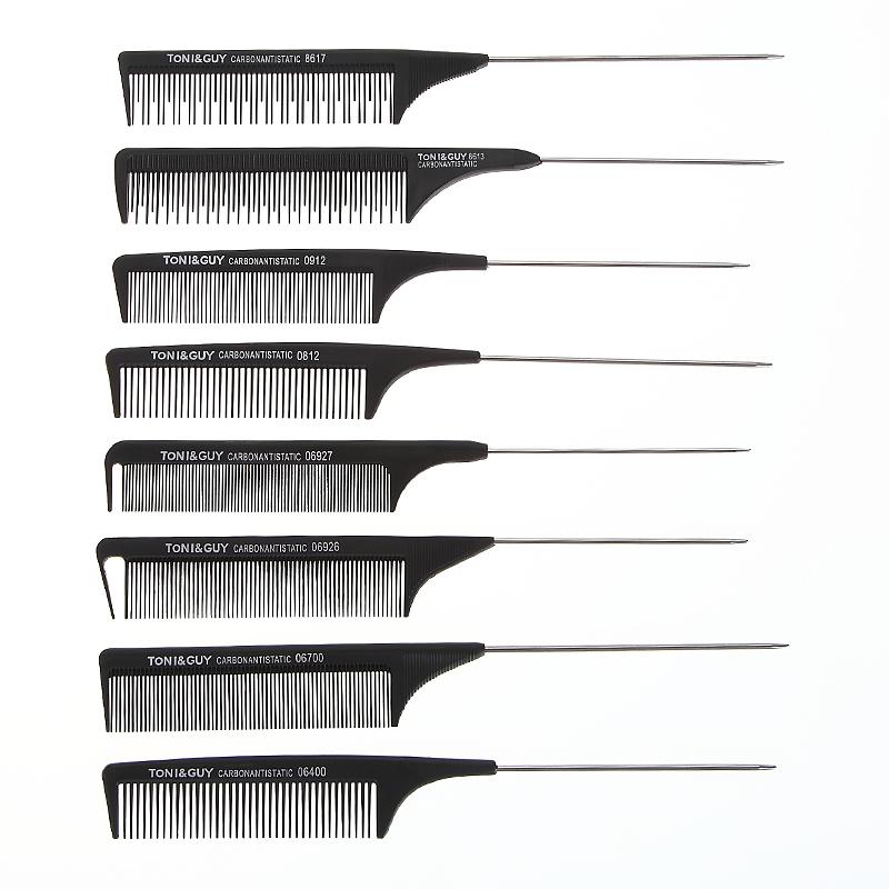 משלוח מדגם שחור מסרק שיער חיתוך פחמן סיבים אנטי סטטי push-גזירה יד מסרק