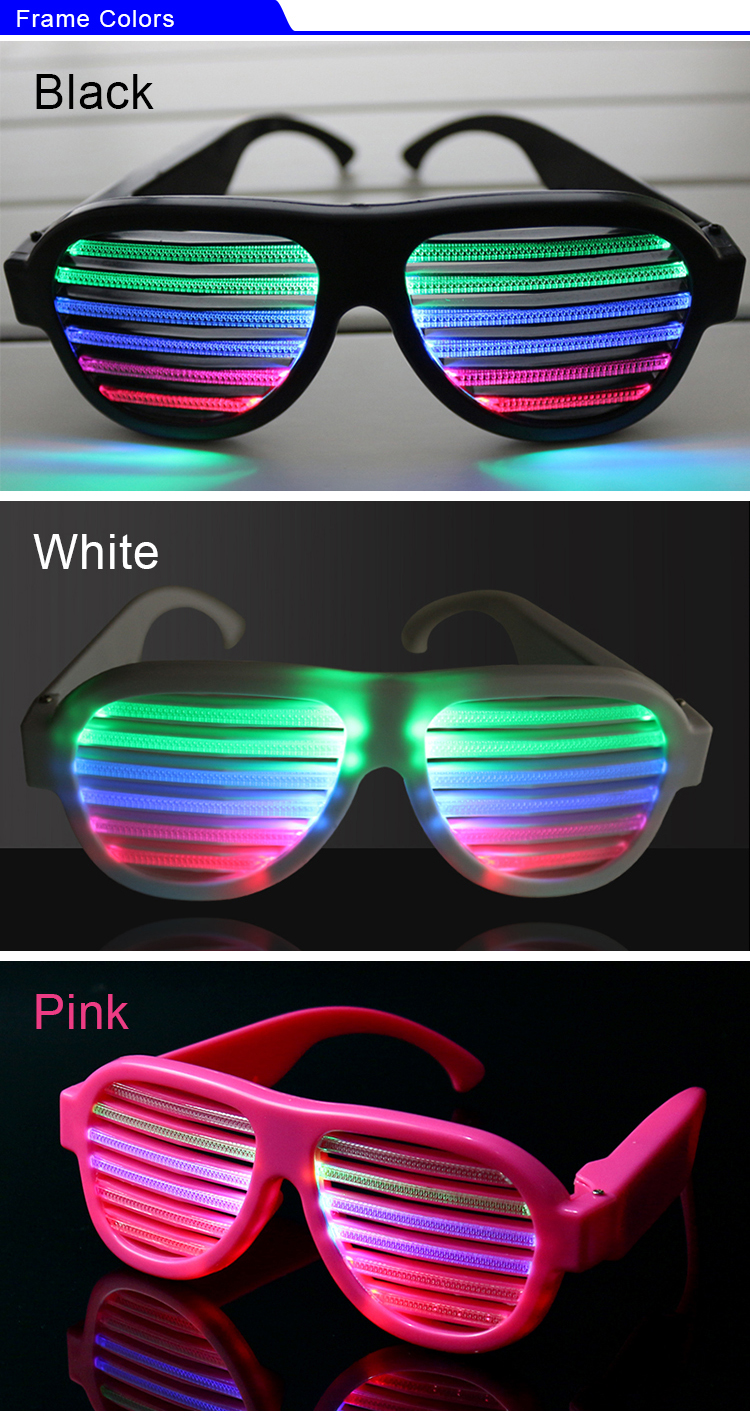 Wholesale Party Favor Supply Sound Activated Led Light Sunglasses Eye Glasses