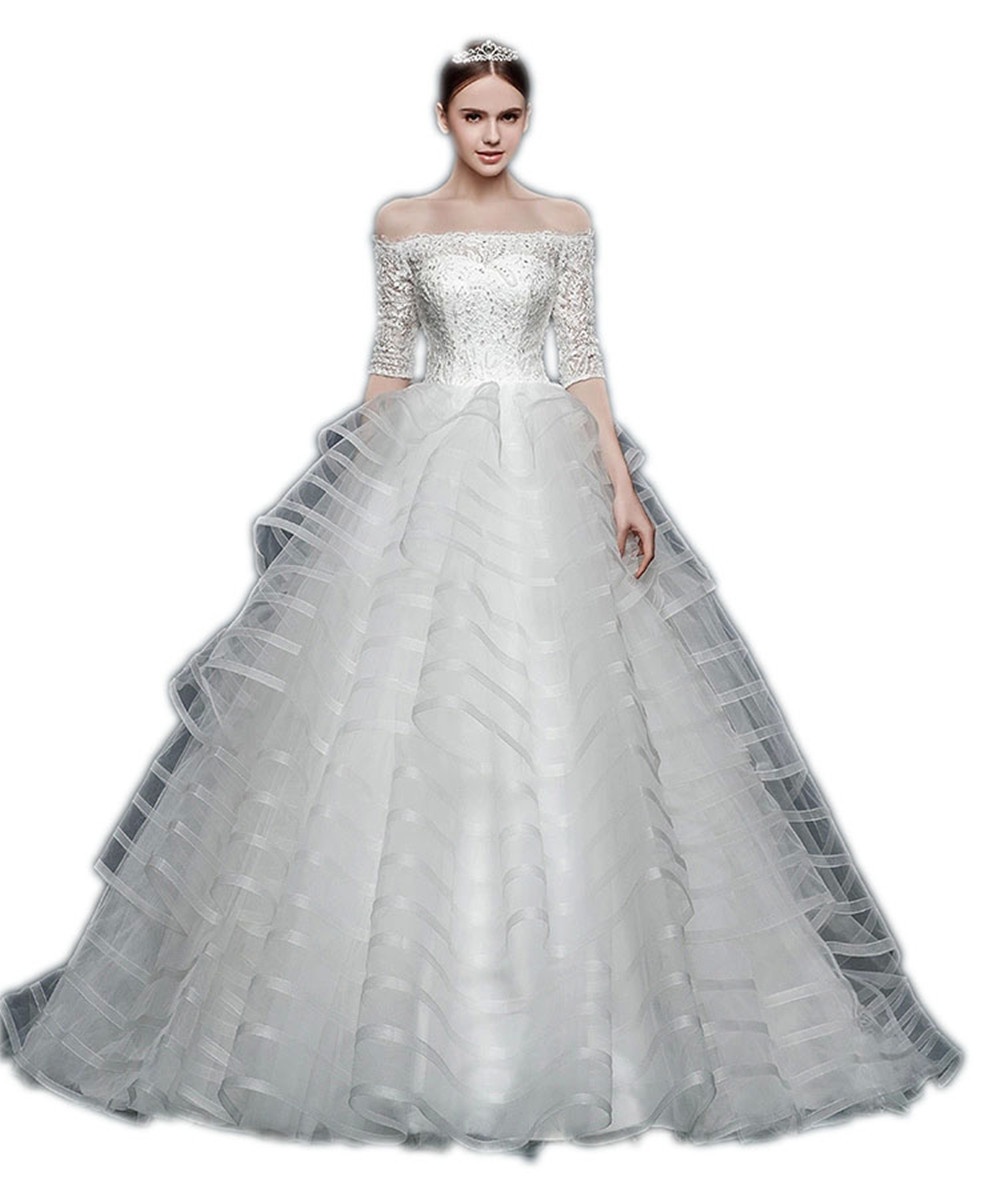 Charming Ball Gown Boat Neck Half Sleeve Lace Wedding Dress Beading Tulle Bride Dresses Sweep Train Long Wedding Gowns Promotion