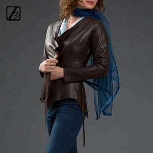 Short Fitted Soft chocolate lamb skin front tie closure raw edges uneven hem-line wild leather ladies jacket