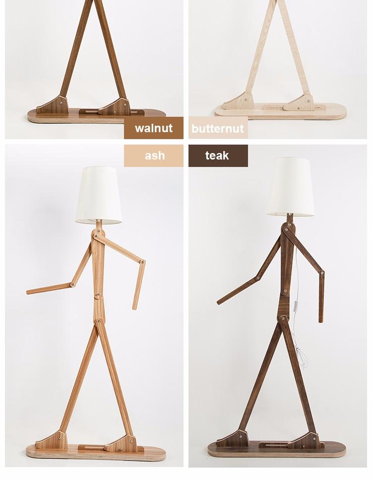 Designer lighting funny human shape flexible wooden floor for Funny lamps for sale