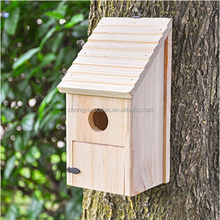 wholesale FSC&BSCI tree hanging wildlife garden wooden carved pet bird cages carriers home house for outdoor