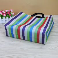 colorful strip design ultrasonic high quality heal seal printed grocery shopping tote bags eco non woven