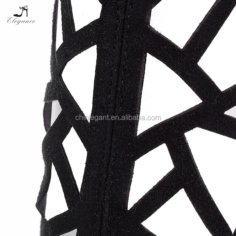 208137eb463 2017 New Lace Up Open Toe Lady Knee High Strappy Gladiator Cut Out Martin  Boots Platform