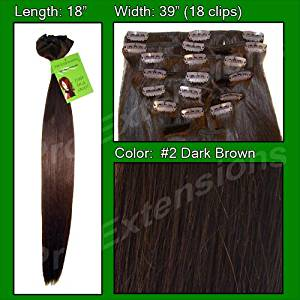 """Pro Extensions 20"""" x 39"""" #2 Dark Brown 100% Clip on in Human Hair Extensions"""