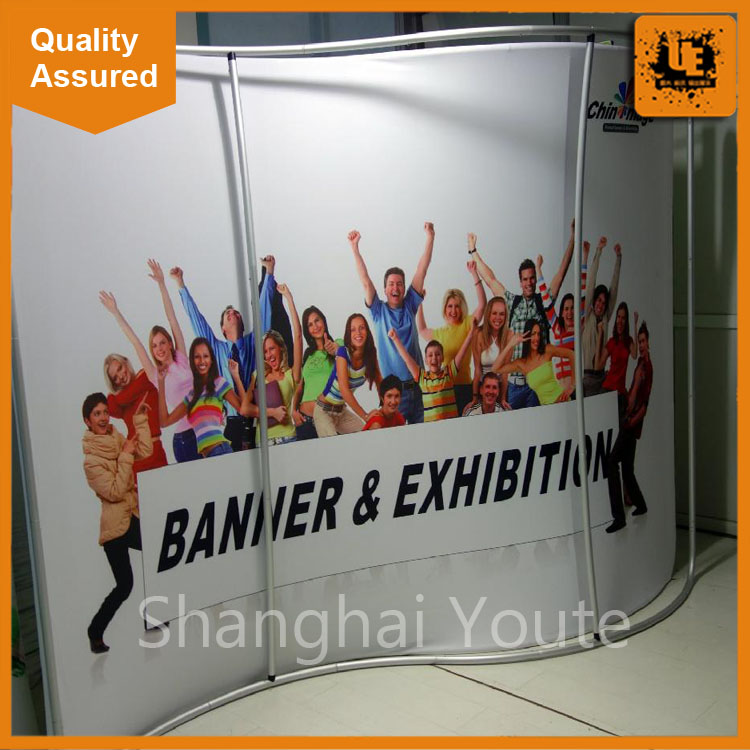 Free design custom dye sublimation full color print fabric display manufacturer promotional custom straight pop up wall display