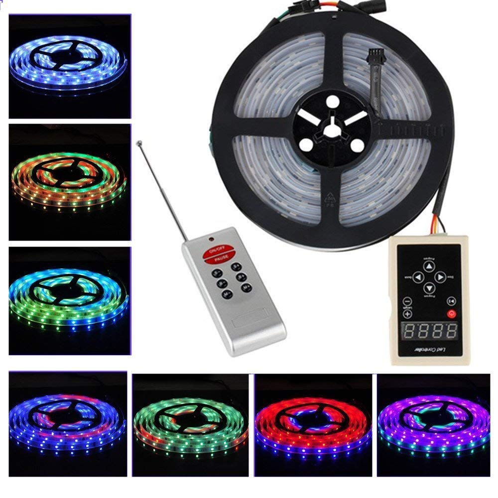 BZONE 5m SMD5050 RGB Magic Dream Color 6803 IC Waterproof Flexible LED Strip Light Lamp 133 Color Changing LED Rope Lights with RF Remote Control Dimmer
