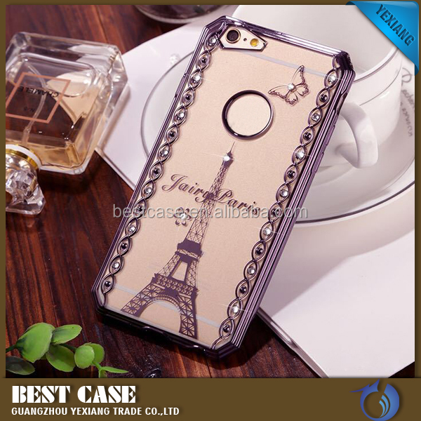 Latest New Products Laser Carving Edge With diamond Electroplated Bumper TPU Back Cover Case For Iphone 7G