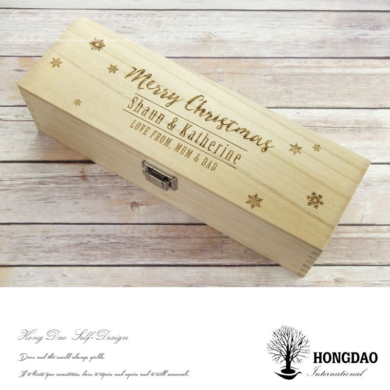 HONGDAO wood wine box envrionmental safe,natural color cosmetic wooden box wholesale pine wood