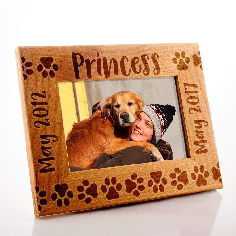 Lily's Atelier Personalized, Pet Memorial Picture Frame, Dog Memorial, Horizontal and Vertical Wooden Picture Photo Frame, 4x6 | 5x7 | 8x10