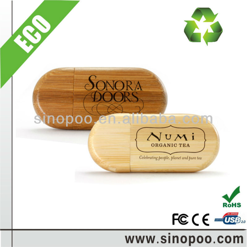Promotional bamboo and wooden USB Flash drive with logo laser engraved or silk screen printed
