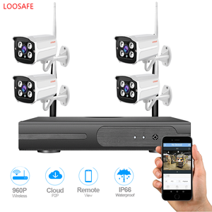 LOOSAFE Wireless Security Camera System 4Channel Video Recorder CCTV NVR  960p Wifi Outdoor CCTV system kits