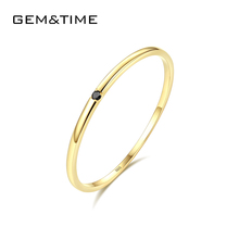 GEM&TIME  Real 14K Gold Rings Luxury AAA AAA Cubic Zircon Yellow Gold Rings Simple Korea Design Ringsfor Women Wholesale jewelry