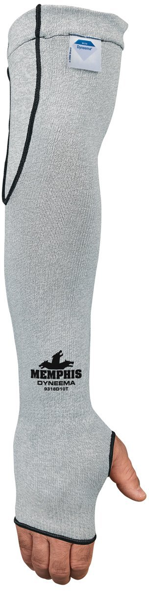 MCR Safety 9318D10T Memphis 10 Gauge Dyneema Sleeve with Thumb-Slot, Gray, 18-Inch