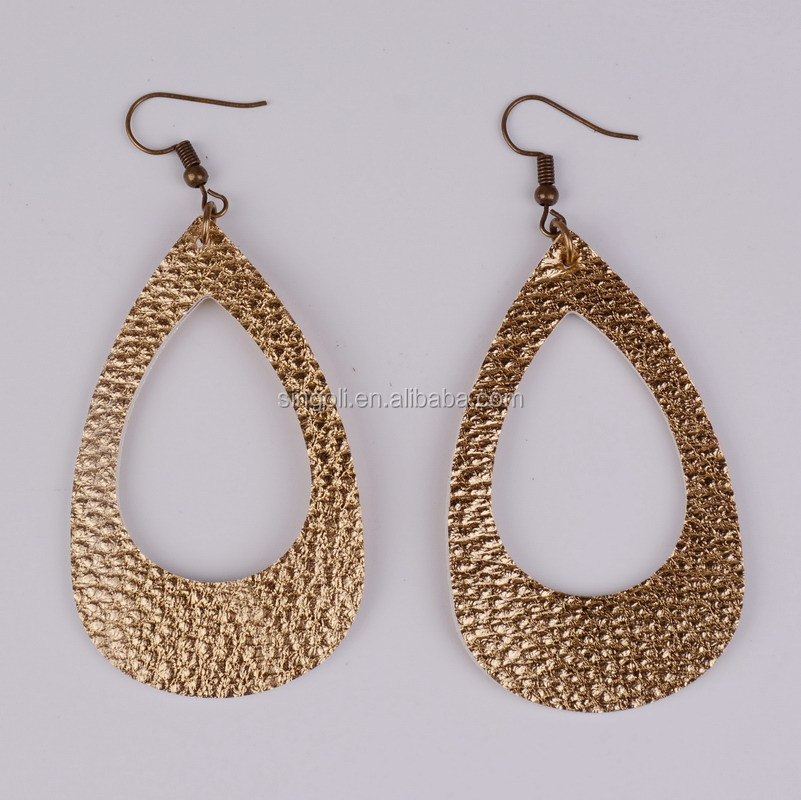 Wholesale Metallic Leather Teardrop Earrings