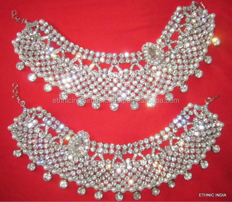 Bridal Silver Crystal Broad Payal Anklets Pair Feet Bracelet - Buy ...