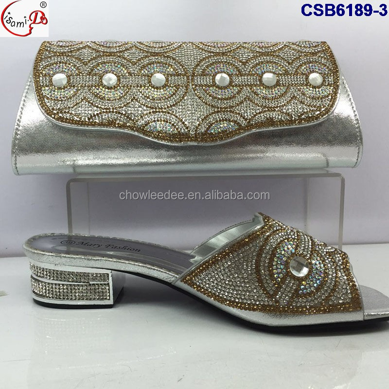 women party High Style and shoes wedding heel slipper bag party and bag Nigeria crystal RqI5xwdv5
