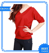 2017 High Quality Basic Blank Clothing Women Organic Cotton Top Lady Elongated Wholesale T Shirt