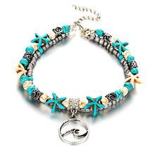 17KM богемные волнистые ножные браслеты для женщин, винтажные Многослойные ножные браслеты с бусинами, сандалии, богемные летние очарователь...(Китай)