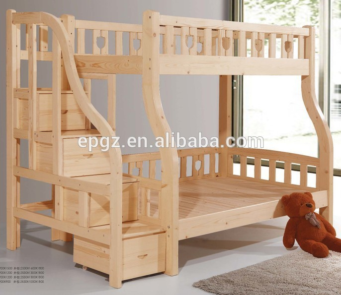 double durable moderne adultes bois massif lit superpos h tre bois massif enfants meubles de. Black Bedroom Furniture Sets. Home Design Ideas