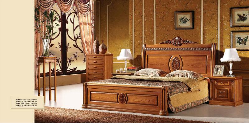2014 luxe classique meubles de chambre coucher en bois a