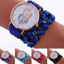 High Quality Watch Women Bracelet Wrap Watch Velveteen Cord Resin & Zinc Alloy adjustable & 2-strand & colorful powder 1222484