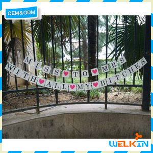 Cheap china factory price bride to be hen party banner 2017