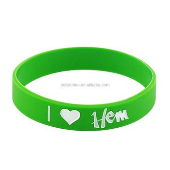 Personalized Green Color Bracelet Rubber Bracelets