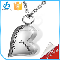 "Wholesale ""Forever In My Heart Mom"" Cremation Jewelry Keepsake Memorial Urn jewelry Necklace"