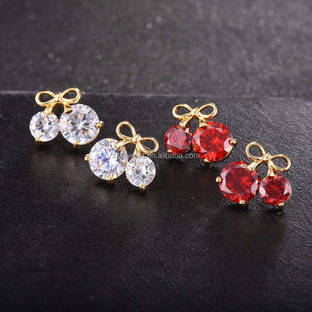 cherry earrings,zirconia earrings,jewelry manufacturer china(SWTAAERZ025)