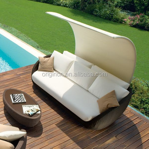 Canopy designed elegant patio outdoor curved sofa and oval coffee table miami rattan furniture