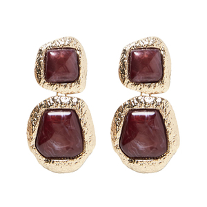 New Design Semi Precious Stone Drop Earrings For Women Irregular Vintage Statement Dangle Earrings Jewely