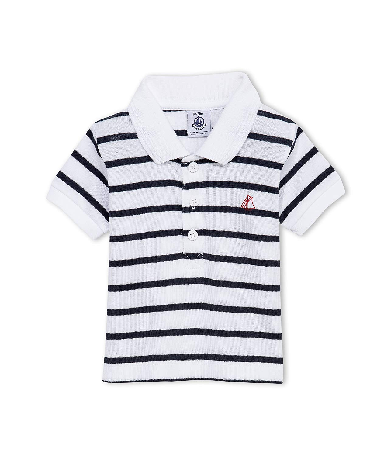 1a4588544c Get Quotations · Petit Bateau Striped Polo (Baby) - Navy/White-3 Months