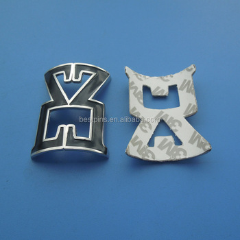 Metal Car Badge Die Casting Bend Emblems For Luxury Car Emblem In