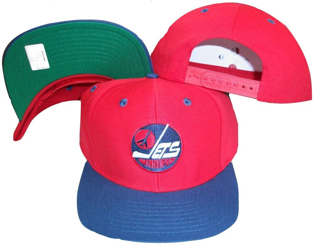 Get Quotations · Winnipeg Jets Red Blue Two Tone Snapback Adjustable  Plastic Snap Back Hat   Cap 2f80a18459a2