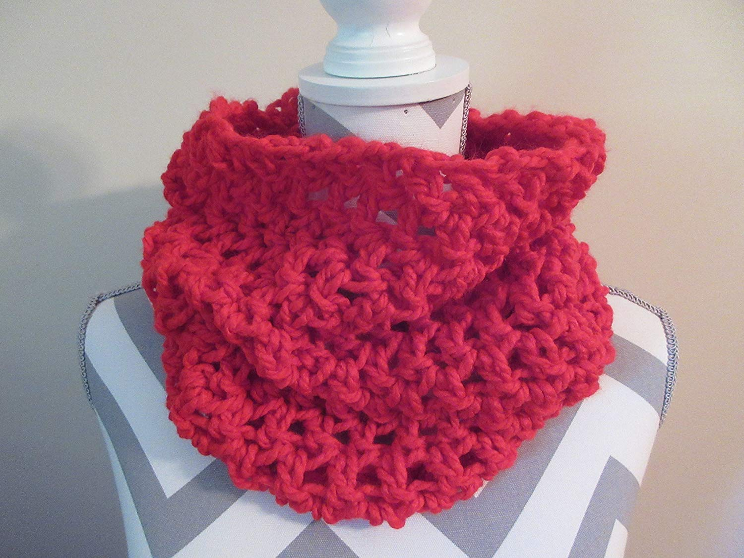Hand Crocheted Red Chunky Cowl Scarf Cowl Design Hoodie Neck Warmer or Drape Down Unisex One Size Fits All Handmade Gift for Her Gift Bag and Ribbon Included