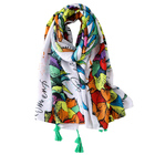 Wholesale 2018 latest fashion travel shawl high quality multicolor pineapple print cotton tassel ombre scarf
