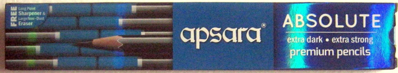 Apsara Absolute Extra Dark Pencils 1 Pack x 10 Pencils + Eraser & Sharpner Free