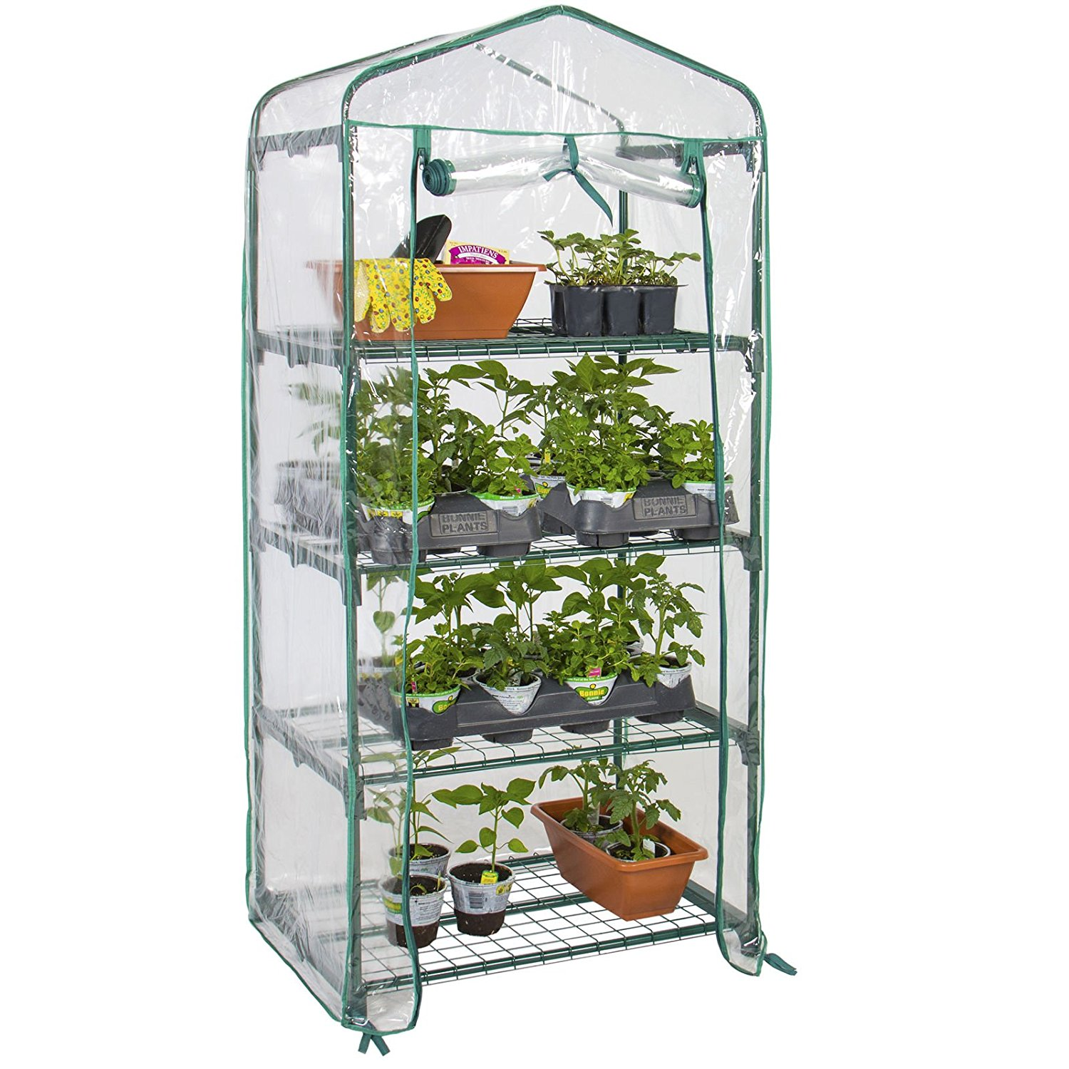 Best Direct Deals 4-Tier Mini Greenhouse w/Cover and Roll-up Zipper Door 27x19x63in - Green