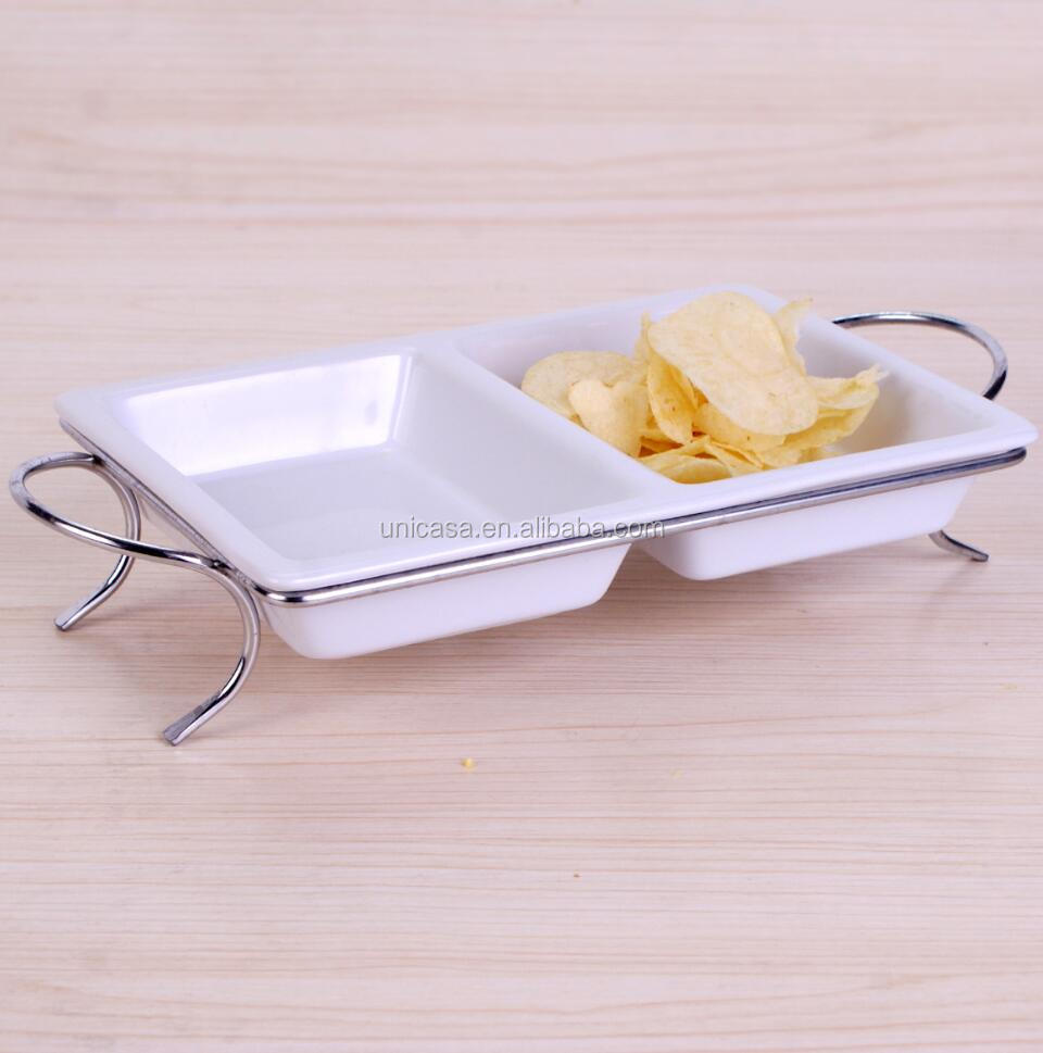 Bulk Buy From China, Wholesale China product Microwave Safe dish plate set with metal stand for party and buffet dinner