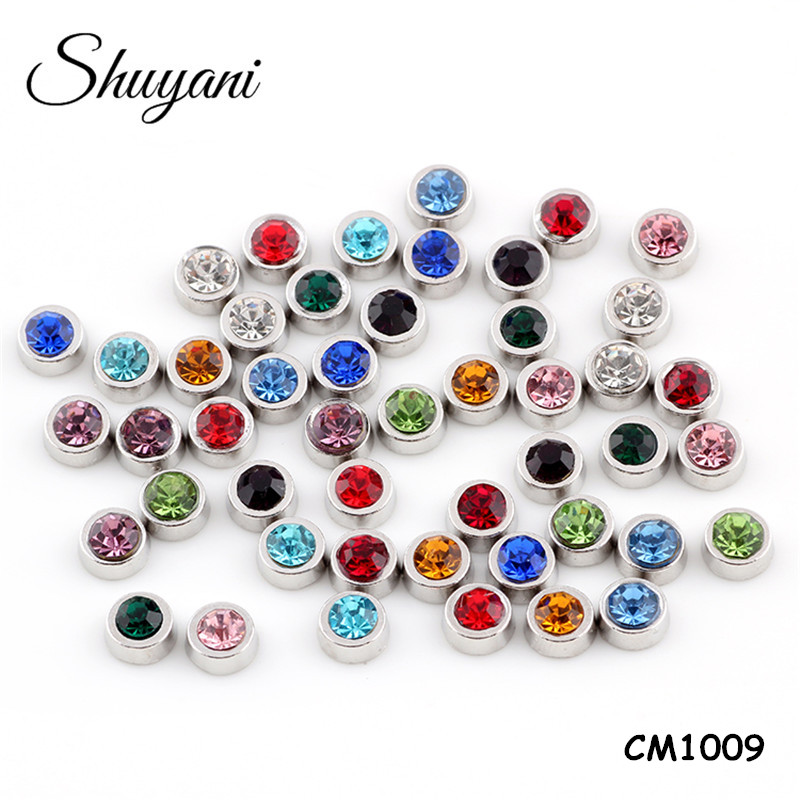 Wholesale jewelry 12 colors mix round birthdaystone <strong>charms</strong> for magnet lockets pendant