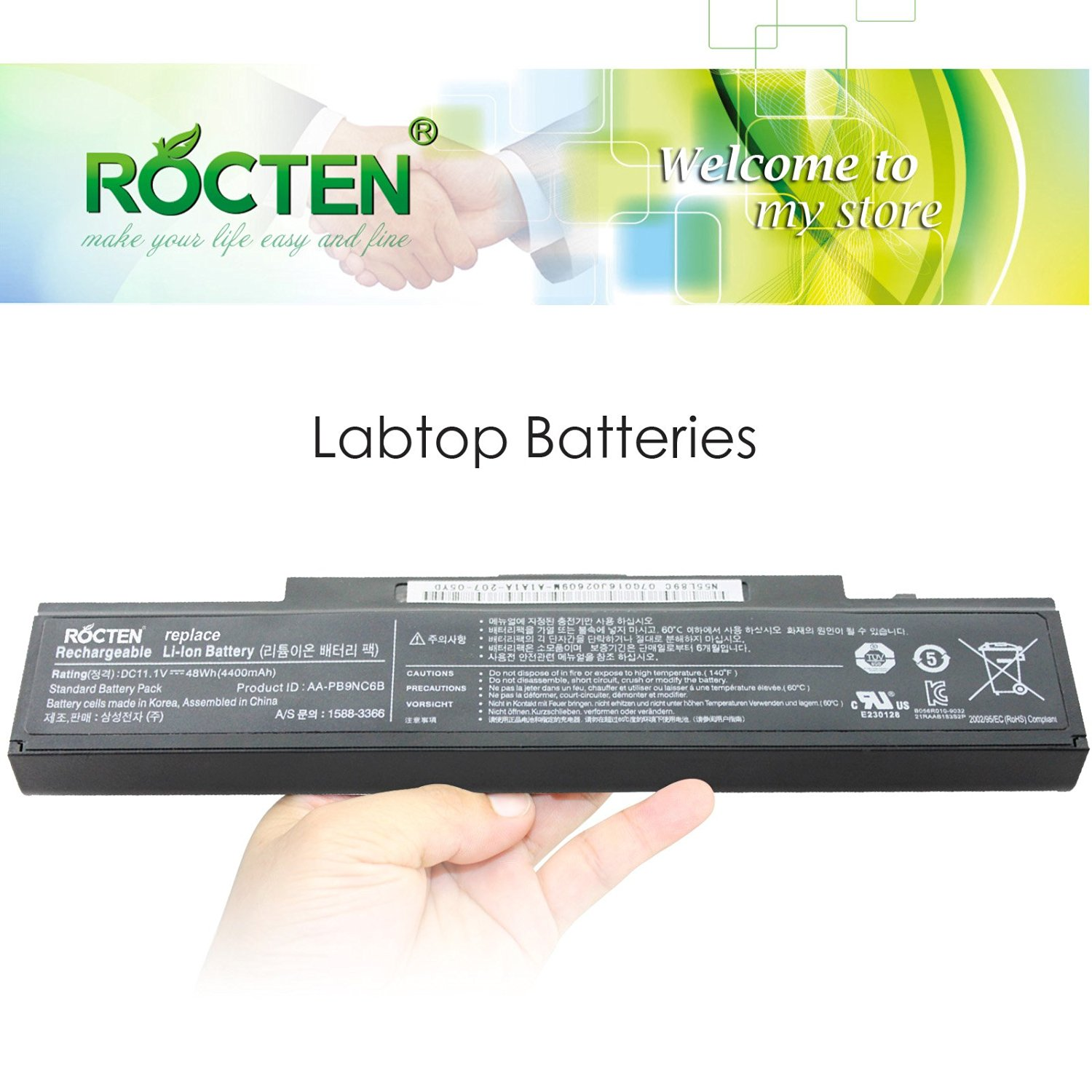 ROCTEN™New Replacement Laptop Battery for Samsung R420 R430 R468 R470 R480 RV510 RV511 RC512 R519 R520 R530 R540 R580 R730 Q320 Q430 Laptop Battery - Premium Superb Choice? 6-cell Li-ion battery